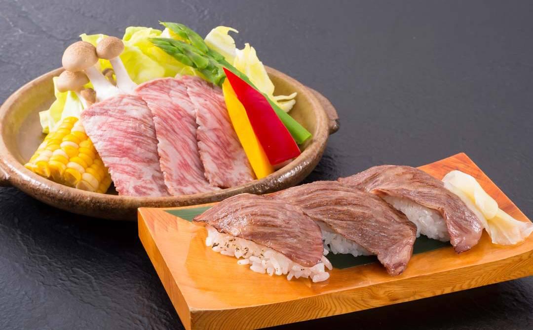 村上牛陶板焼きと握り寿司灸り