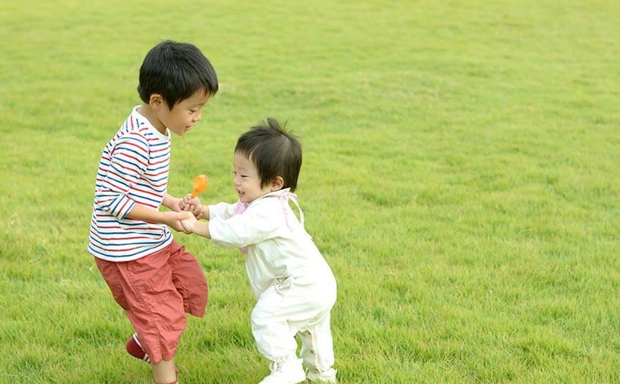 草原で遊ぶ兄弟